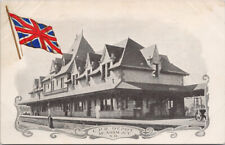 CPR Depot McAdam Junction New Brunswick Railway Station Patriotic Postcard G12