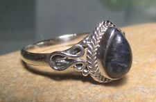 Sterling silver cabochon Pietersite everyday ring UK R-R¼/US 8.75-9
