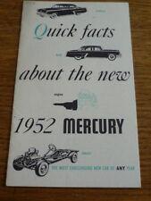 MERCURY 1952 QUICK FACTS  SALES BROCHURE