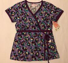Koi Kathryn Scrub Top XS Sparks Purple Floral Mock Wrap NWT Women's
