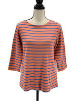 LL Bean Womens French Sailor Striped Sweater Coral Blue Large 3/4 Sleeves