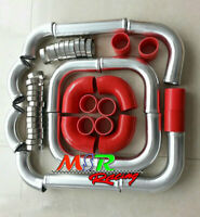"""3"""" 76mm aluminum universal Intercooler Turbo Piping pipe + Red hose + T-Clamp"""