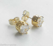 6mm Round Created Diamond Crown Design Stud Earrings Yellow Gold Plated Studs
