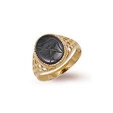 9ct gold geprägt Gents ovale Form Hämatit Ring mit Gitter Seiten