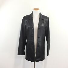 Alder Collection Real New Zealand Lambskin Black Leather Jacket Womens Size L