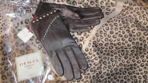 DENTSdark brown soft LEATHER + SUEDE gold studdedembellished GLOVES size8 bnwt