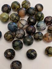 Natural Dragon Veins Agate Beads, Dyed, Faceted, Round, Mixed Color, 8mm, Hole:1