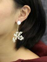 Earrings Nails Golden Chandelier Branch D` Tree Small Pearl White XX36