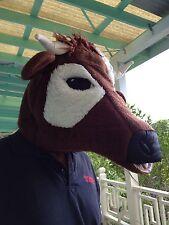Faux Fur Brown Cow Mascot Head
