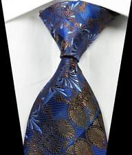 New Classic Florals Brown Dark Blue JACQUARD WOVEN 100% Silk Men's Tie Necktie