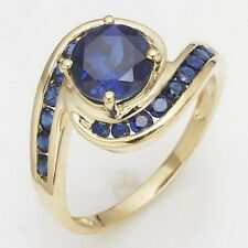 Women's Luxury Percious Round Cut Blue Sapphire Gold Filled Wedding Rings Size 6