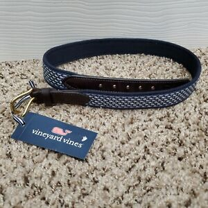 NWT Vineyard Vines Boys Club Leather Canvas Blue Whale Belt Size 30 Color Blue
