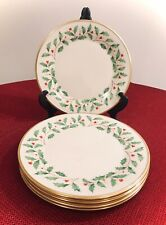 """Set Of 5 - Lenox Holiday Dimension 10 3/4"""" Dinner Plates - MINT"""