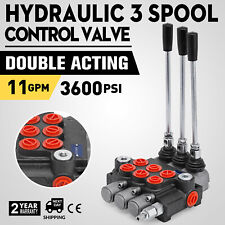 3 Spool Hydraulic Directional Control Valve, Double Acting, 11 GPM, SAE Ports