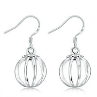 Women Jewelry 925 Sterling Silver Plated Round Big Hoop Dangle Lantern Earrings