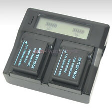 LCD Charger +2x Battery for Panasonic DMW-BLC12e DMC-GH2 DMC-FZ200 DMC-FZ200GK