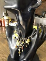 FASHION NECKLACE PILGRIM DANISH DESIGN PEACE SIGN LUCKY DICE GREEN YELLOW BEADS