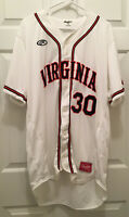 Virginia UVA Cavaliers Baseball Game Worn #30 White Blue Orange Jersey Size 46