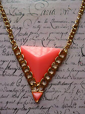 Gold Tribal Geometric Pink Triangle Costume Jewellery Necklace + Gift Bag
