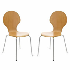 2 Beech Wood Cafe Style Dining Chairs Chrome Metal Wooden Keeler Bentwood Bistro