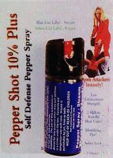 Pepper Shot 2 oz Ounce 10% OC-10 POLICE Self Defense Pepper Spray STREAM Dye NEW