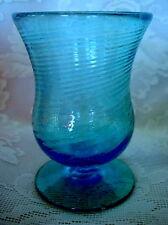 Turquoise Blue Hand Blown Art Glass Footed Vase/Votive/Tealight - Rough Pontil