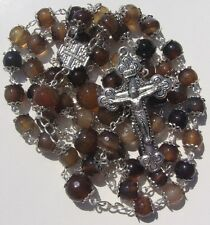 Rosary Prayer Necklace 8mm & 10mm Coffee Agate Faceted Beads by Bruce Silver