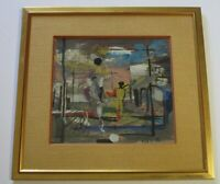 HAROLD KRAMER PAINTING ABSTRACT SURREALISM MID CENTURY MODERN EXPRESSIONIST VNTG