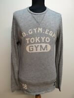 CC698 MENS SUPERDRY GYM GREY CREW NECK COTTON FITTED JUMPER UK S EU 46