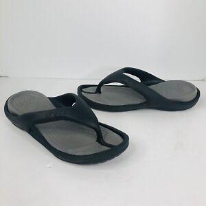 Crocs flip flop sandals shoes thong  Black Size Mens 7  Women's 9 comfort