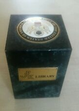 VINTAGE JKF LIBRARY DESK PAPERWEIGHT MARBLE BASE JOHN F KENNEDY