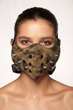 Camouflage Faux Leather Mouth Face Cover Spikes Rocker Steam Punk Hannibal Mask