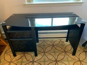 Desk metal with glass top and two draws