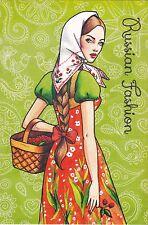 Russian Fashion #3 Ethnic folk girl by Sakovich Russian modern postcard