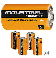 GENUINE 4 x DURACELL C SIZE INDUSTRIAL PROCELL ALKALINE BATTERIES LR14 MN1400