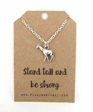 Soporte de altura y ser fuerte Jirafa Plateado Plata Collar Regalo de tarjeta de mensaje