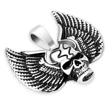 Skull Pendant with Large Wings Stainless Steel