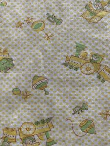 Vintage Baby Blanket Carter's Receiving Cotton Knit Yellow Dot Train Toys 70s