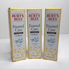 3 BURT'S BEES Enamel Care Fluoride Toothpaste ~ Mountain Mint ~ 4.7 OZ EA