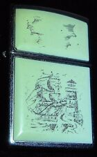 Zippo Scrimshaw Ship & Lighthouse with Box 359