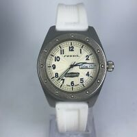 Fossil Mens Defender DE-1504 White Rubber Band Day Date Indicator Watch