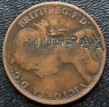 """1891 Great Britian One Penny Counterstamped """"J. Murray� Both Sides of Coin"""