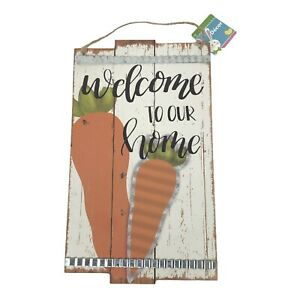 Welcome to our Home Easter Spring Carrots Wall Hanging Decor Sign Farmhouse NEW