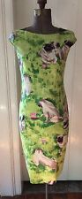 Moschino Green Linen Pug Dress Fits 2/4 Lined Stunning Preowned
