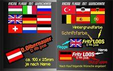 1 Namensaufkleber Flagge Personalisierte Aufkleber Flag Bike Ski Helm Blutgruppe