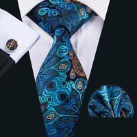 USA Silk Mens Tie Blue Green Floral Necktie Set Jacquard Woven Wedding Party