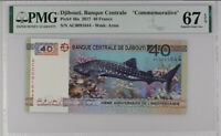 Djibouti 40 Francs 2017 P 46 Shark 40th Superb Gem UNC PMG 67 EPQ