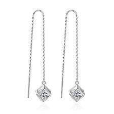 925 Sterling Silver Crystal Cube Drop Earrings Ear Line For Women Party Jewelry