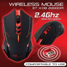 ET X-08 2.4Ghz 2400CPI Red LED PC Laptop Professional Wireless Gaming Mouse Mice