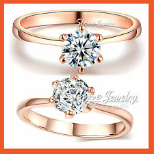 9K ROSE GOLD GF 1CT SOLITAIRE LAB DIAMOND SOLID CLASSIC  ENGAGEMENT WEDDING RING